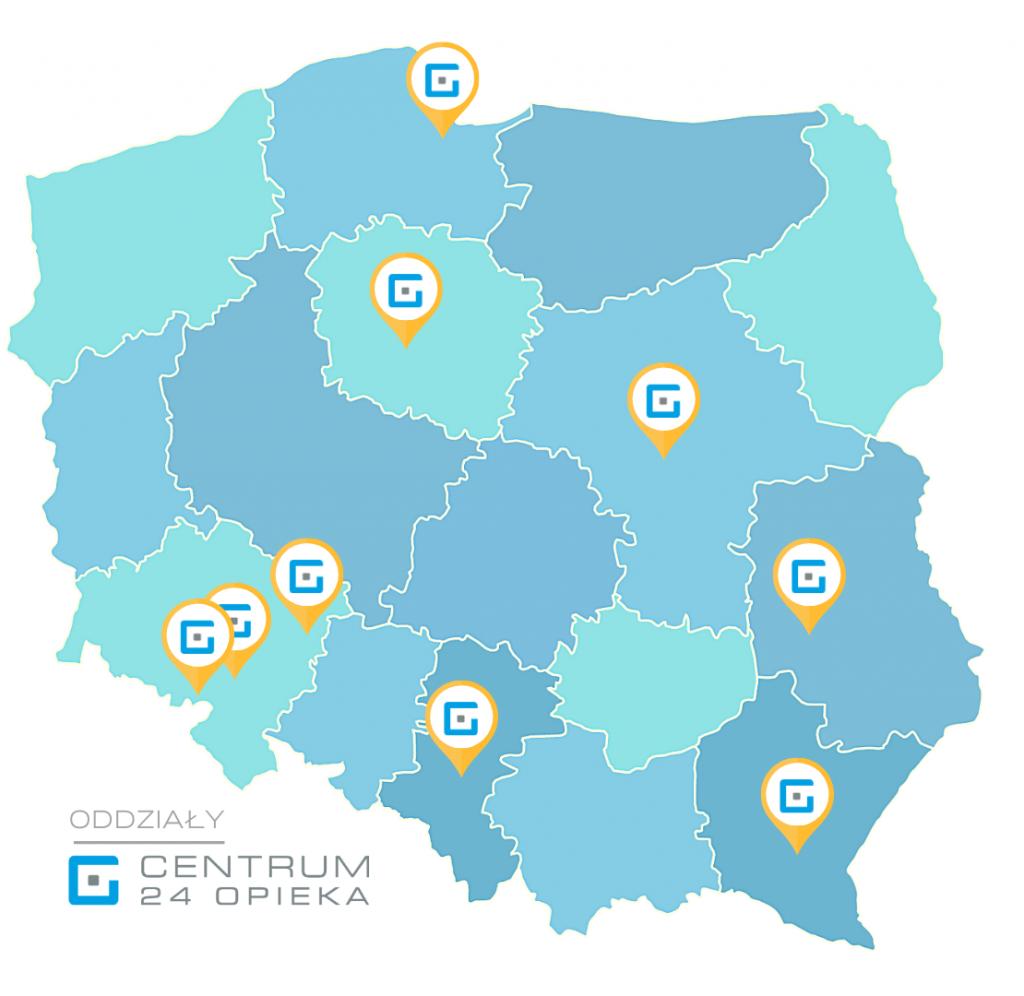 mapa oddziałów - Centrum 24 Opieka